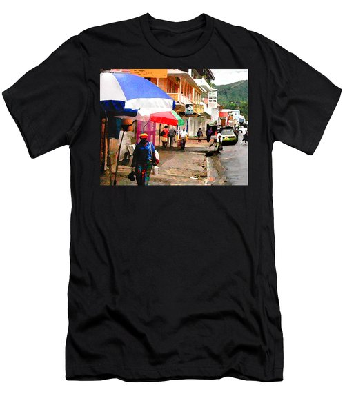 Street Scene In Rosea Dominica Filtered Men's T-Shirt (Athletic Fit)