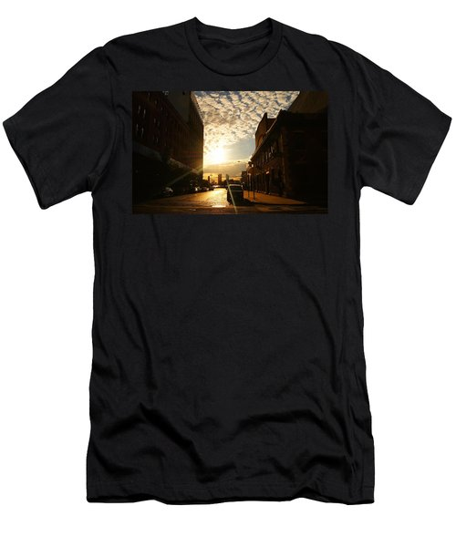 Summer Sunset Over A Cobblestone Street - New York City Men's T-Shirt (Athletic Fit)