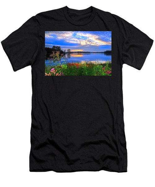 Men's T-Shirt (Slim Fit) featuring the photograph Summertime Walk Around Lake  by Randall Branham