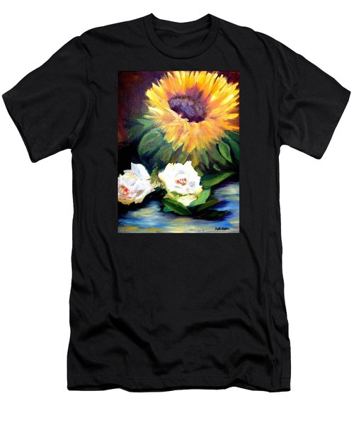 Sunflower And White Roses Men's T-Shirt (Slim Fit) by Patti Gordon