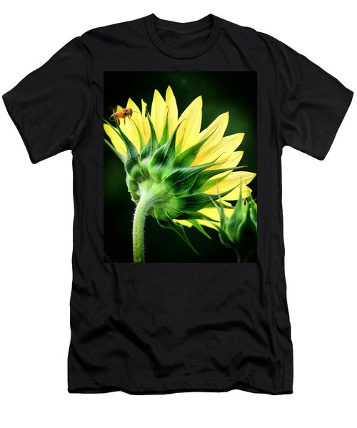 Men's T-Shirt (Slim Fit) featuring the photograph Sunflower With Bee by Lynne Jenkins