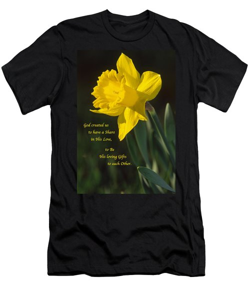 Sunny Daffodil With Quote Men's T-Shirt (Athletic Fit)