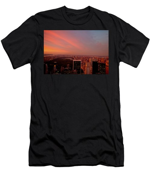 Sunset Over Central Park And The New York City Skyline Men's T-Shirt (Athletic Fit)