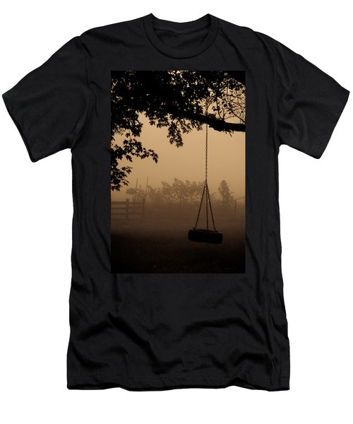 Men's T-Shirt (Slim Fit) featuring the photograph Swing In The Fog by Cheryl Baxter