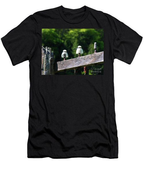 Men's T-Shirt (Slim Fit) featuring the photograph Telephone Pole And Insulators by Sherman Perry