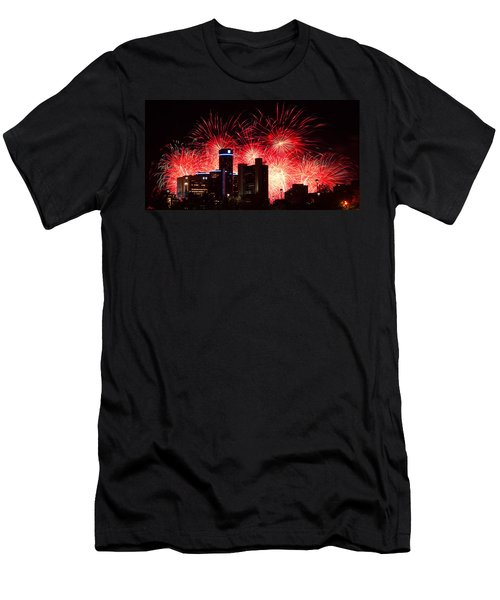 Men's T-Shirt (Slim Fit) featuring the photograph The 54th Annual Target Fireworks In Detroit Michigan - Version 2 by Gordon Dean II