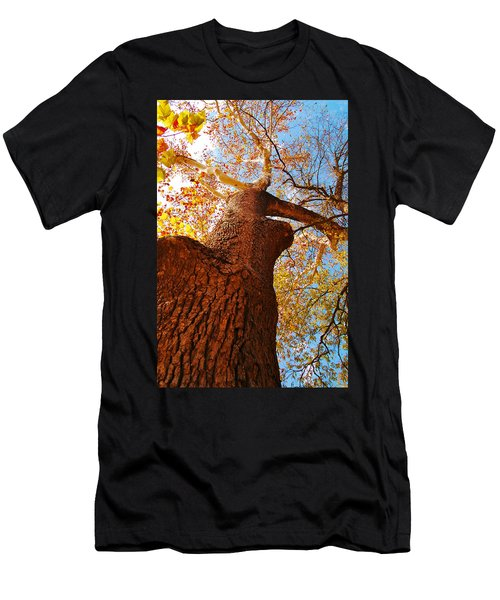 Men's T-Shirt (Slim Fit) featuring the photograph The Deer  Autumn Leaves Tree by Peggy Franz