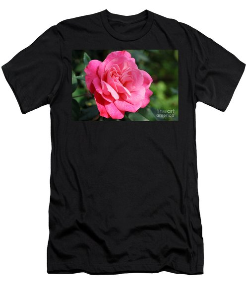 Men's T-Shirt (Slim Fit) featuring the photograph The Pink Rose by Fotosas Photography