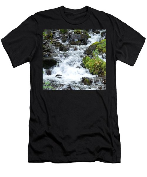 Men's T-Shirt (Slim Fit) featuring the photograph The Roadside Stream by Chalet Roome-Rigdon