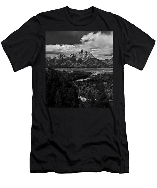 The Tetons - Il Bw Men's T-Shirt (Slim Fit) by Larry Carr