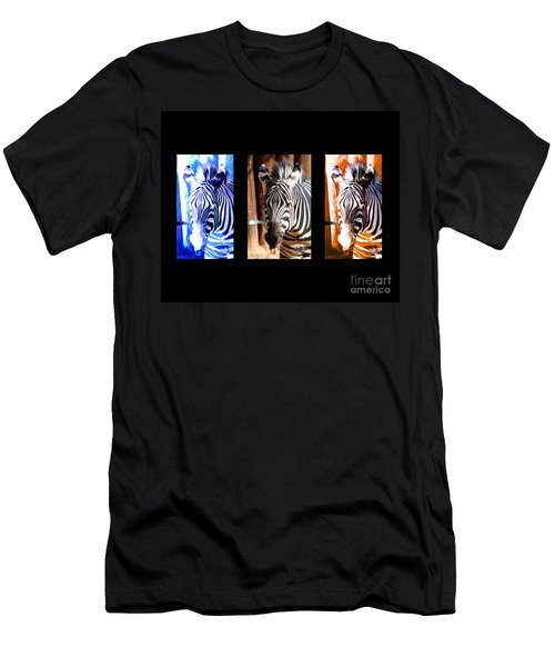 Men's T-Shirt (Slim Fit) featuring the photograph The Three Zebras Black Borders by Rebecca Margraf