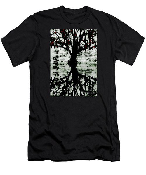 Men's T-Shirt (Slim Fit) featuring the painting The Tree The Root by Amy Sorrell