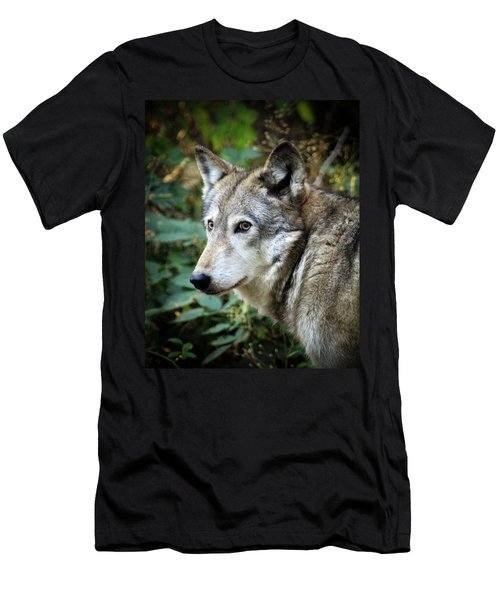 Men's T-Shirt (Slim Fit) featuring the photograph The Wolf by Steve McKinzie