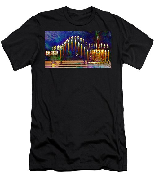 Three Menorahs Men's T-Shirt (Athletic Fit)