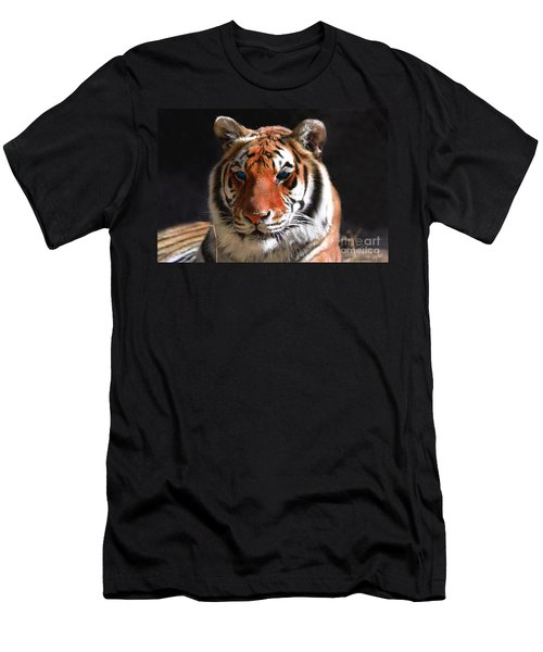 Tiger Blue Eyes Men's T-Shirt (Slim Fit) by Rebecca Margraf