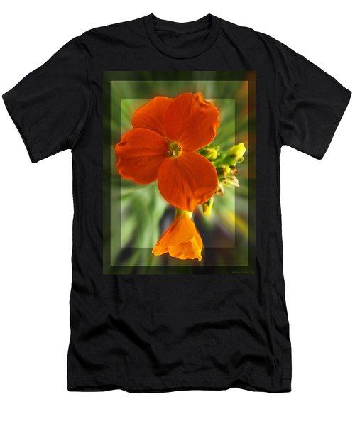 Men's T-Shirt (Slim Fit) featuring the photograph Tiny Orange Flower by Debbie Portwood