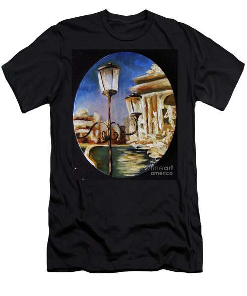 Trevi Fountain Men's T-Shirt (Slim Fit) by Karen  Ferrand Carroll