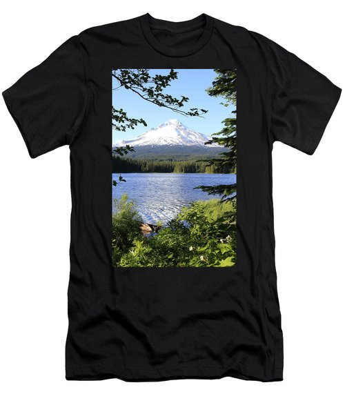 Men's T-Shirt (Slim Fit) featuring the photograph Trillium Lake At Mt. Hood by Athena Mckinzie