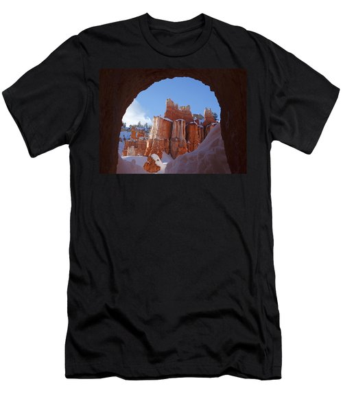 Men's T-Shirt (Slim Fit) featuring the photograph Tunnel In The Rock by Susan Rovira