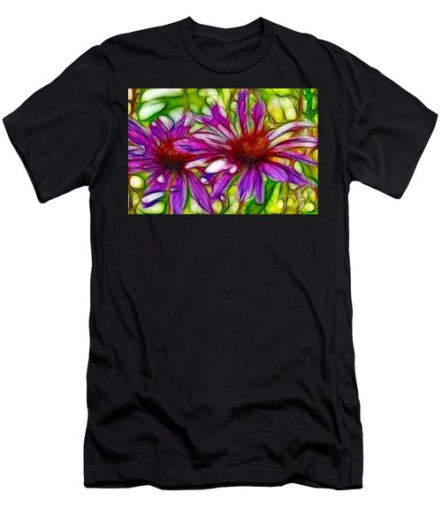 Two Purple Daisy's Fractal Men's T-Shirt (Athletic Fit)