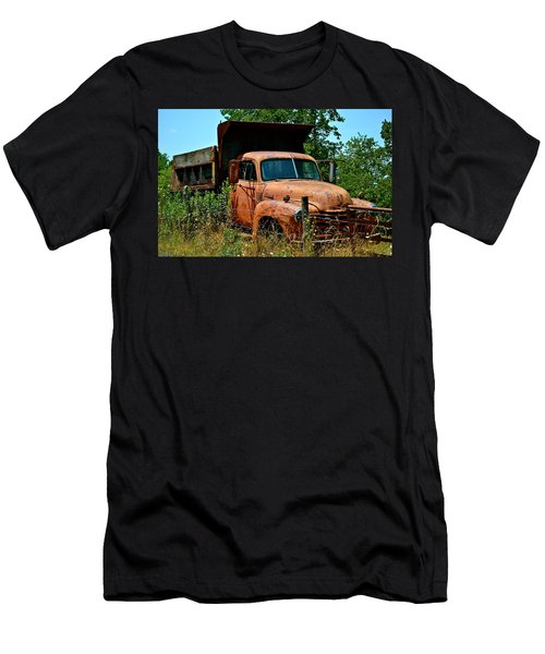 Men's T-Shirt (Slim Fit) featuring the photograph Vintage Old Time Truck by Peggy Franz