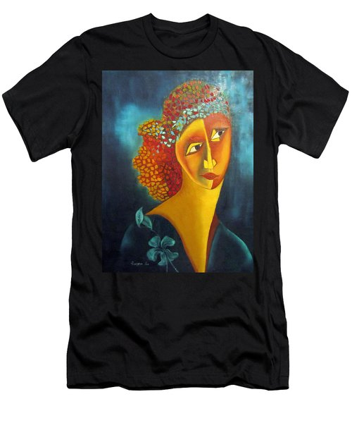 Waiting For Partner Orange Woman Blue Cubist Face Torso Tinted Hair Bold Eyes Neck Flower On Dress Men's T-Shirt (Athletic Fit)