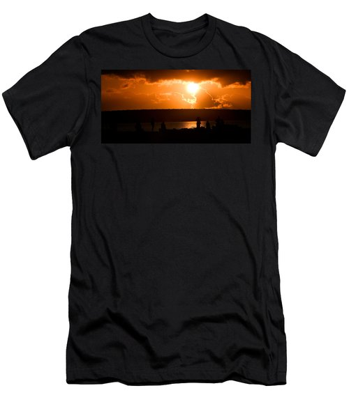 Men's T-Shirt (Slim Fit) featuring the photograph Watching Sunset by Yew Kwang