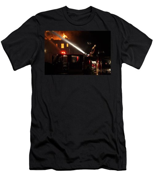 Water On The Fire From Pumper Truck Men's T-Shirt (Athletic Fit)