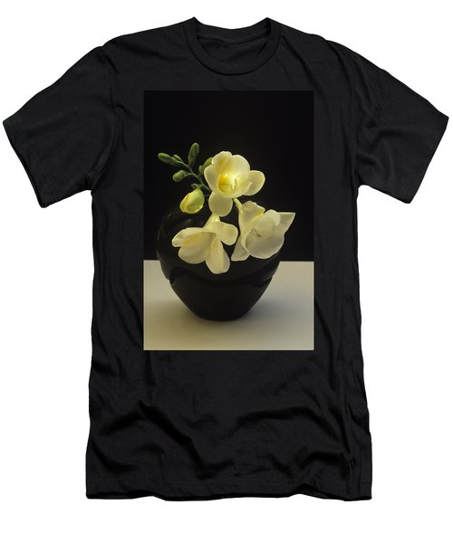 Men's T-Shirt (Slim Fit) featuring the photograph White Freesias In Black Vase by Susan Rovira