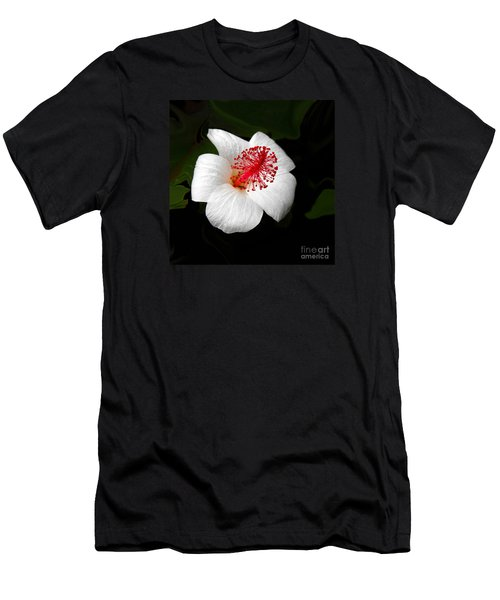 Men's T-Shirt (Slim Fit) featuring the photograph White Hibiscus Flower by Rebecca Margraf