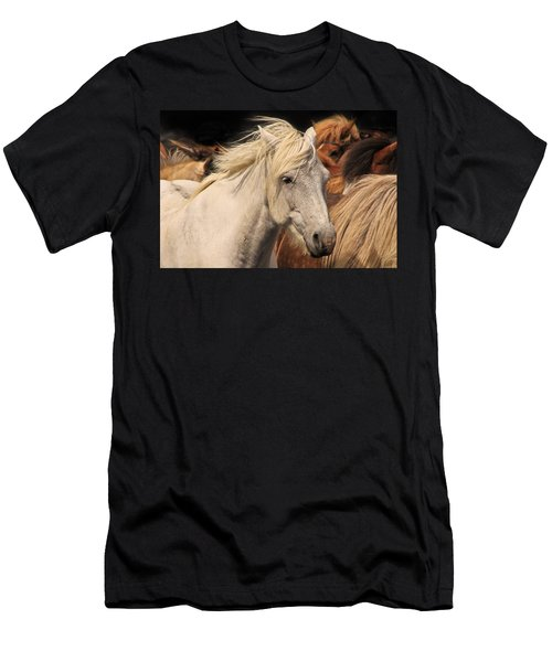 White Icelandic Horse Men's T-Shirt (Athletic Fit)