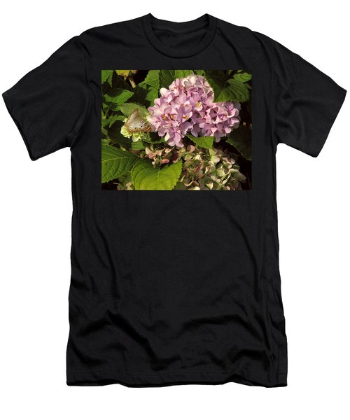 White Peacock On Hydrangea Men's T-Shirt (Athletic Fit)