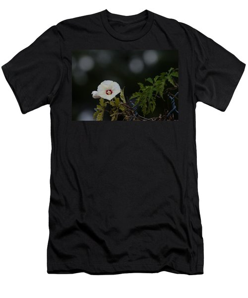 Men's T-Shirt (Slim Fit) featuring the photograph Wildflower On Fence by Ed Gleichman