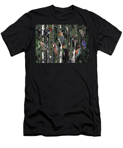 Woodpecker Collage Men's T-Shirt (Athletic Fit)