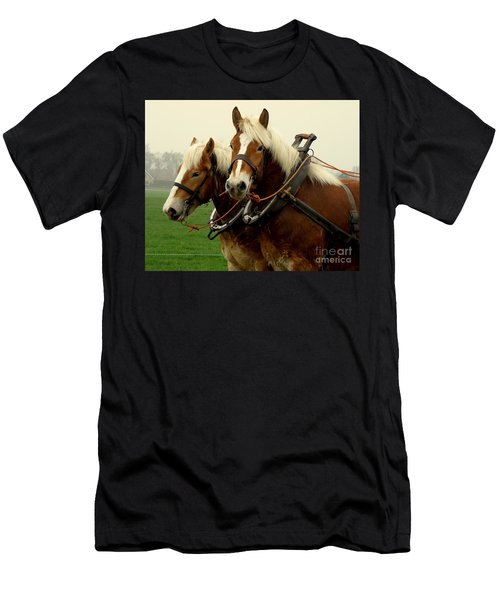 Work Horses Men's T-Shirt (Slim Fit) by Lainie Wrightson