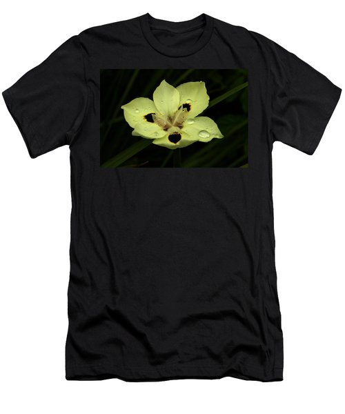 Yellow Iris With Rain Drops Men's T-Shirt (Athletic Fit)