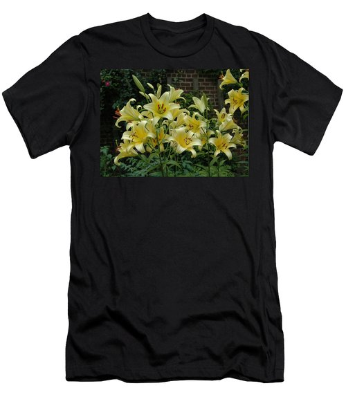 Men's T-Shirt (Slim Fit) featuring the photograph Yellow Oriental Stargazer Lilies by Tom Wurl