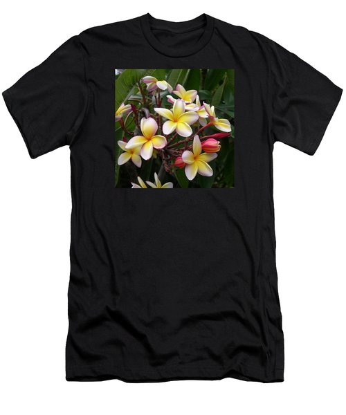 Men's T-Shirt (Slim Fit) featuring the digital art Yellow Plumeria by Claude McCoy