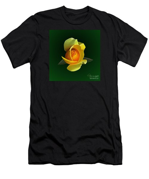 Men's T-Shirt (Slim Fit) featuring the painting Yellow Rose by Rand Herron