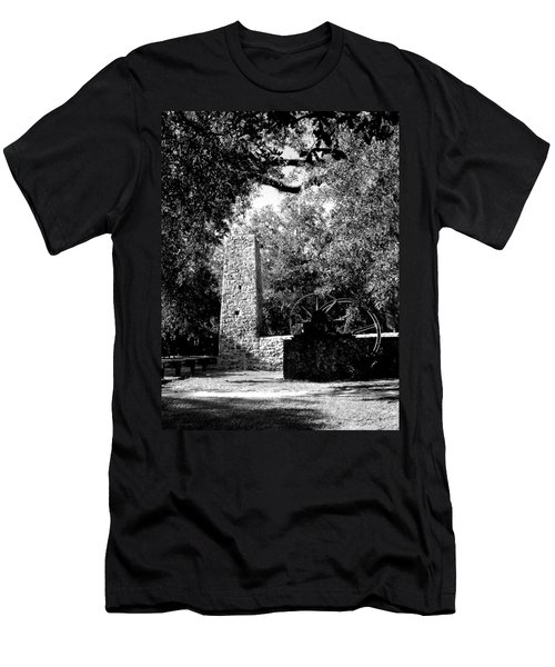 Yulee Sugarmill 2  Black And White Men's T-Shirt (Slim Fit) by Judy Wanamaker