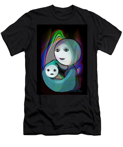 044 - Full Moon  Mother And Child   Men's T-Shirt (Athletic Fit)