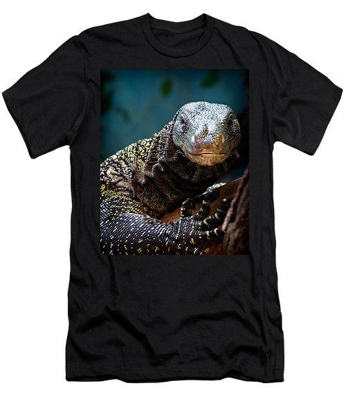 A Crocodile Monitor Portrait Men's T-Shirt (Slim Fit) by Lana Trussell