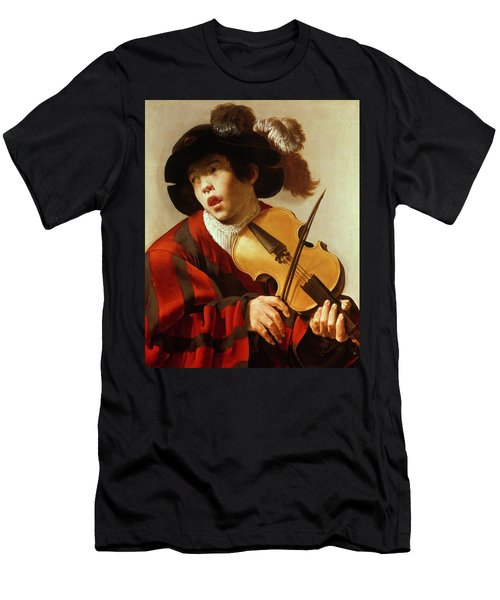 Boy Playing Stringed Instrument And Singing Men's T-Shirt (Athletic Fit)