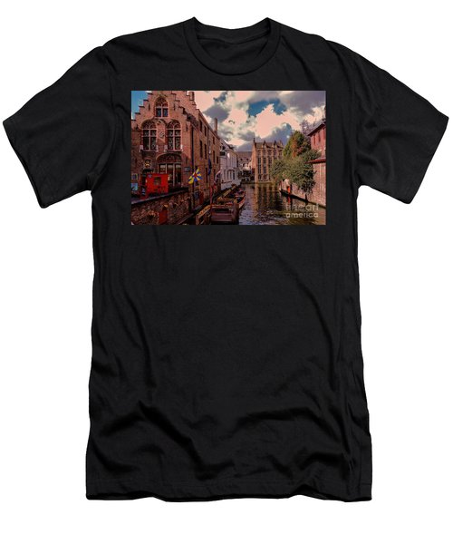 Men's T-Shirt (Slim Fit) featuring the photograph  Brugge Belgium by Mim White
