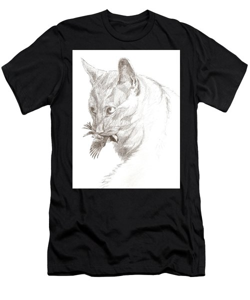 Cat And Chickadee Men's T-Shirt (Athletic Fit)