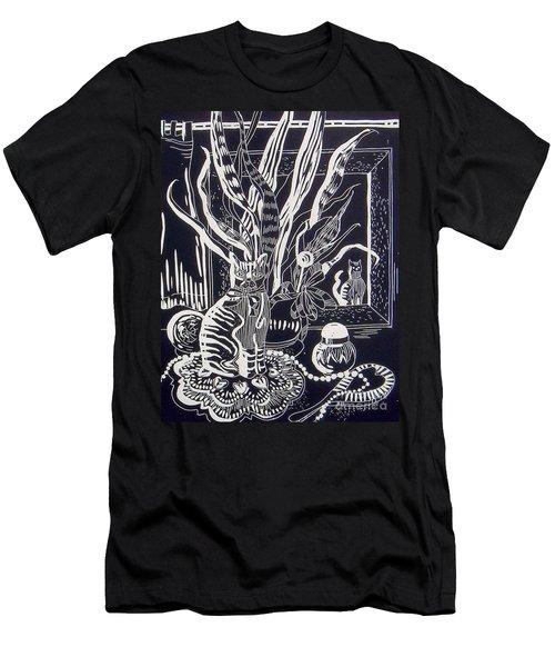 Cat On Dresser Men's T-Shirt (Slim Fit)