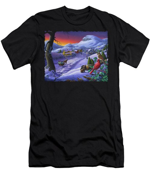 Christmas Sleigh Ride Winter Landscape Oil Painting - Cardinals Country Farm - Small Town Folk Art Men's T-Shirt (Athletic Fit)