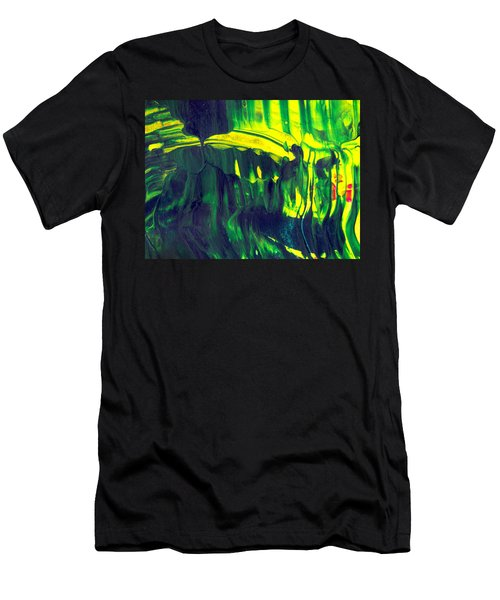 First Date - Green Abstract Mixed Media Painting Men's T-Shirt (Athletic Fit)