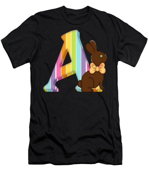 Letter A Chocolate Easter Bunny Men's T-Shirt (Athletic Fit)