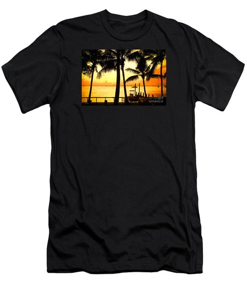 Men's T-Shirt (Slim Fit) featuring the painting  Palm Sunset On The Keys by Judy Kay